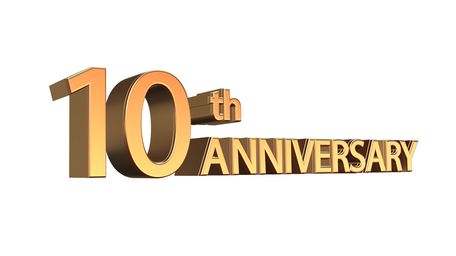 Tenth anniversary symbol in gold isolated on white background